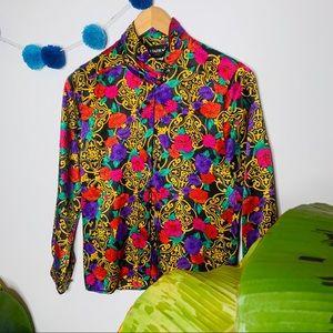 vintage vsco y2k 70s patterned silk blend blouse